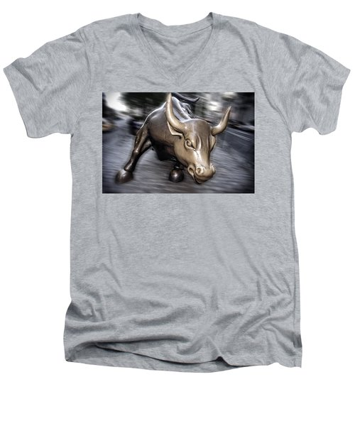 Men's V-Neck T-Shirt featuring the photograph New York Bull Of Wall Street by Juergen Held