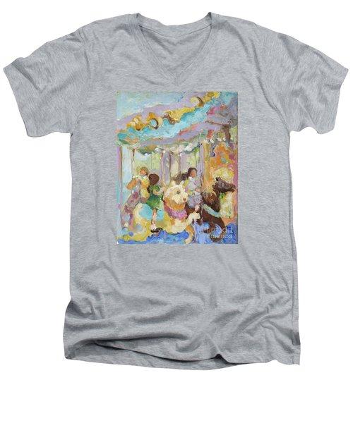 New York Carousel Men's V-Neck T-Shirt by Sharon Furner