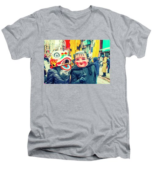 New York Chinatown Men's V-Neck T-Shirt