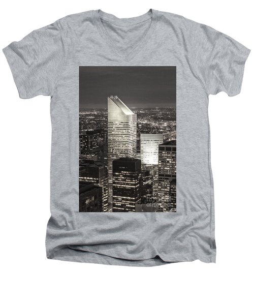 Men's V-Neck T-Shirt featuring the photograph New York Citigroup Center  by Juergen Held