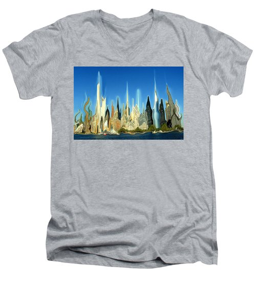 New York City Skyline 2100 - Modern Artwork Men's V-Neck T-Shirt