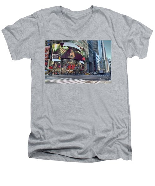 New York City - Broadway And 42nd St Men's V-Neck T-Shirt by Dyle Warren