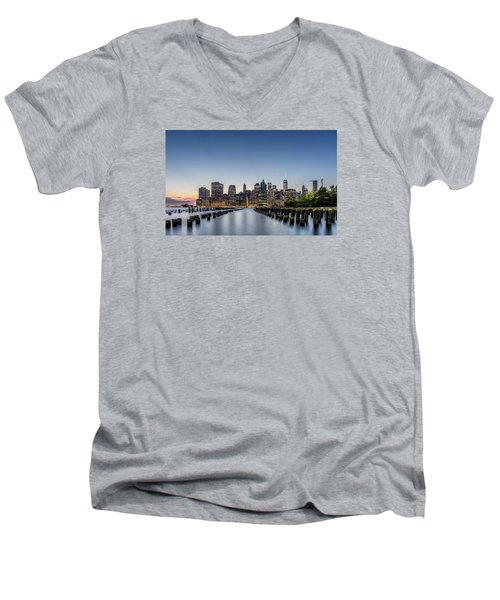 New York City Dusk Men's V-Neck T-Shirt by Rafael Quirindongo