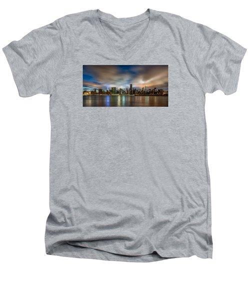 New York City Evening Skyline  Men's V-Neck T-Shirt by Rafael Quirindongo