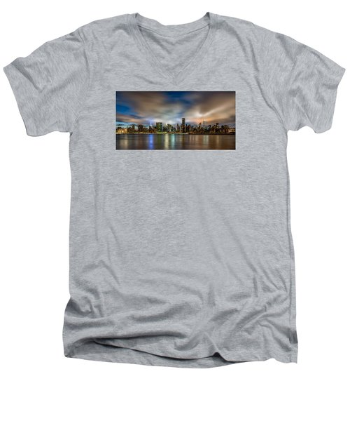 New York City Evening Skyline  Men's V-Neck T-Shirt