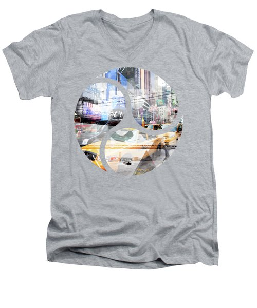 New York City Geometric Mix No. 9 Men's V-Neck T-Shirt