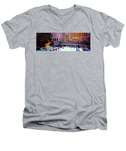 Men's V-Neck T-Shirt featuring the photograph  New York City Rockefeller Center Ice Rink  by Tom Jelen
