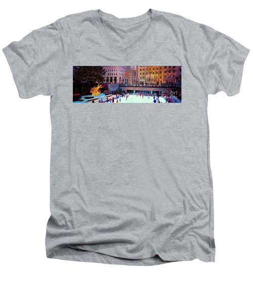 New York City Rockefeller Center Ice Rink  Men's V-Neck T-Shirt