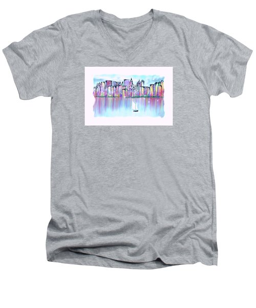 New York City Scape Men's V-Neck T-Shirt