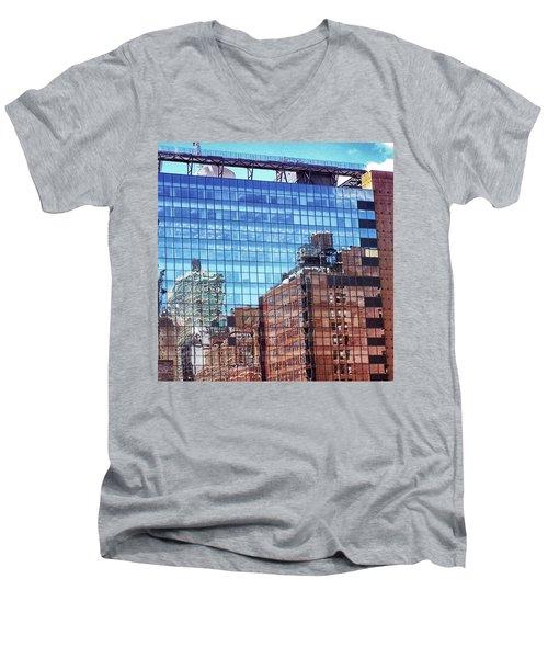 New York City Skyscraper Art 4 Men's V-Neck T-Shirt by Judi Saunders