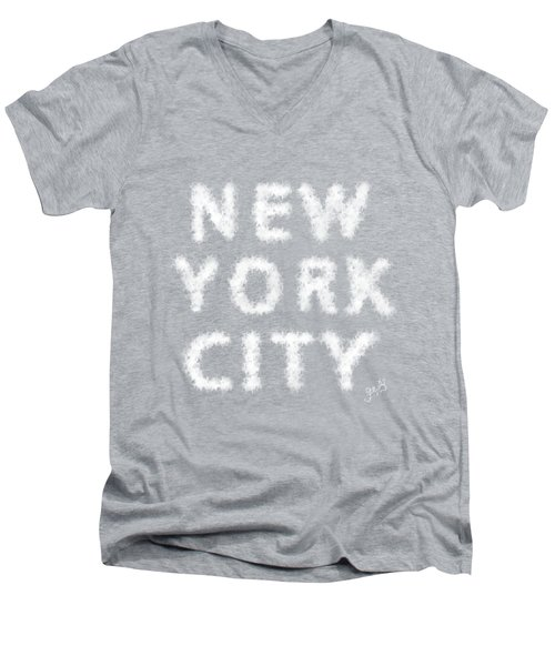 Men's V-Neck T-Shirt featuring the painting New York City Skywriting Typography by Georgeta Blanaru