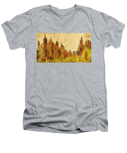 New York City In The Fall Men's V-Neck T-Shirt by Alex Galkin