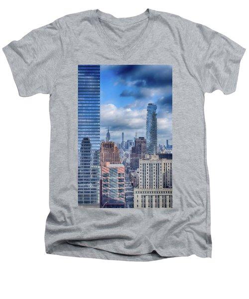 New York Cityscape Men's V-Neck T-Shirt by Dyle Warren