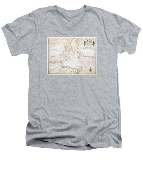 New York Harbor Map 1700 Men's V-Neck T-Shirt