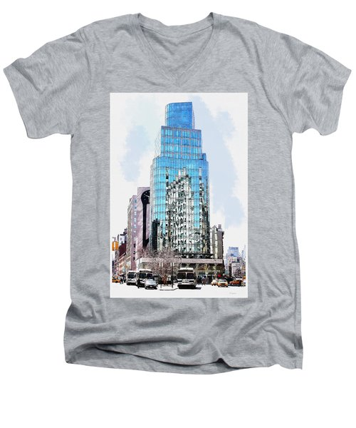 New York In Reflection Men's V-Neck T-Shirt by Kai Saarto