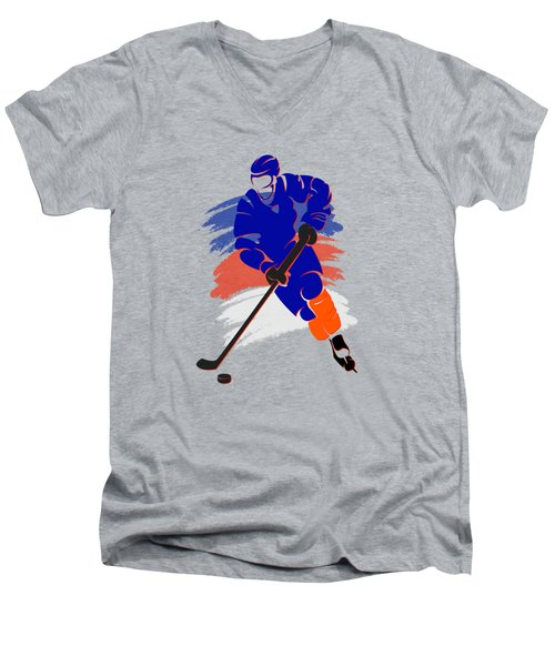 New York Islanders Player Shirt Men's V-Neck T-Shirt by Joe Hamilton