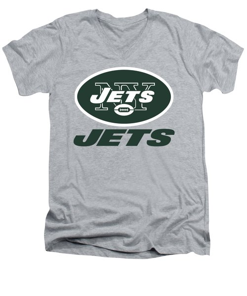 New York Jets On An Abraded Steel Texture Men's V-Neck T-Shirt