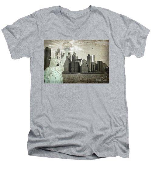 New York New York Da Men's V-Neck T-Shirt