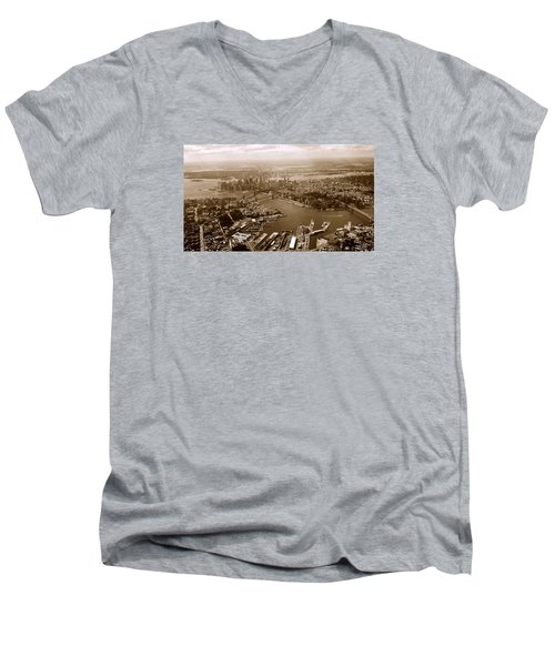 Men's V-Neck T-Shirt featuring the photograph New York Skyline by Chris Fraser