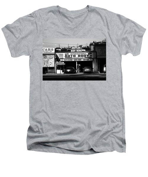 Men's V-Neck T-Shirt featuring the photograph New York Street Photography 69 by Frank Romeo
