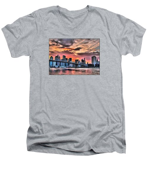 Men's V-Neck T-Shirt featuring the digital art New York Sunset by Charmaine Zoe