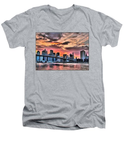 New York Sunset Men's V-Neck T-Shirt
