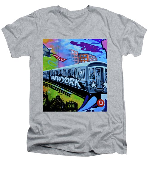 New York Train Men's V-Neck T-Shirt by Joan Reese