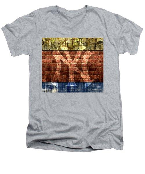New York Yankees Brick 2 Men's V-Neck T-Shirt