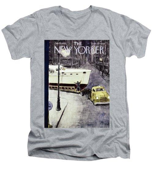 New Yorker January 14 1956 Men's V-Neck T-Shirt