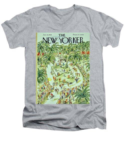 New Yorker January 18 1958 Men's V-Neck T-Shirt