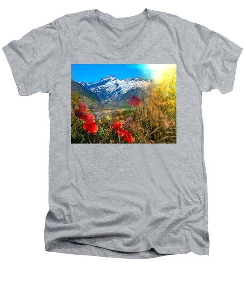 New Zealand Southern Alps Montage Men's V-Neck T-Shirt