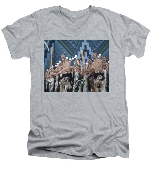 Men's V-Neck T-Shirt featuring the photograph New Zealand,north Island,  Rotorua Arts Festival,dance And Singi by Juergen Held