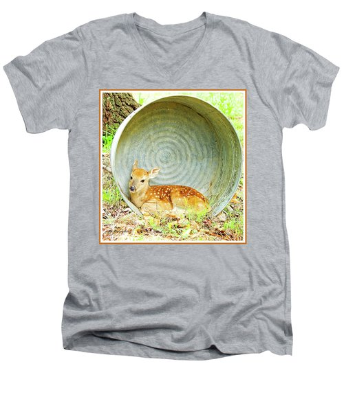 Newborn Fawn Finds Shelter In An Old Washtub Men's V-Neck T-Shirt by A Gurmankin