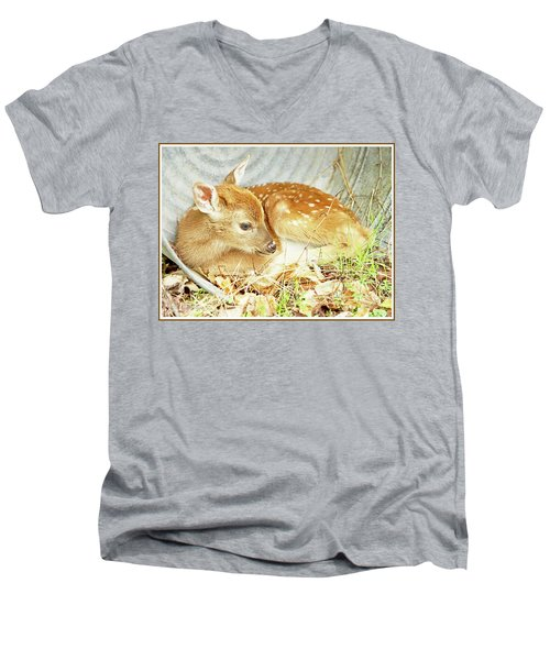 Newborn Fawn Takes Shelter In An Old Washtub Men's V-Neck T-Shirt