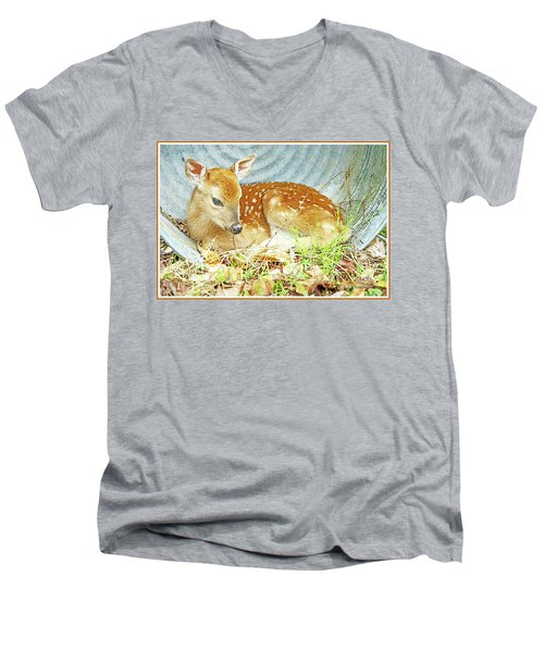 Newborn Fawn Takes Shelter In An Old Washtub II Men's V-Neck T-Shirt by A Gurmankin