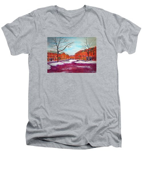 Newburyport Ma In Winter Men's V-Neck T-Shirt