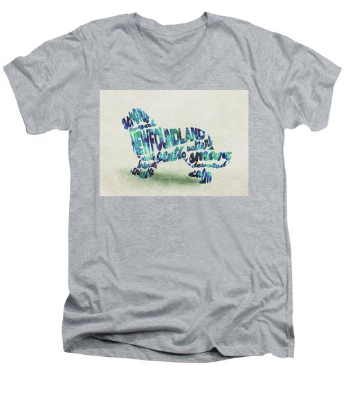 Men's V-Neck T-Shirt featuring the painting Newfoundland Dog Watercolor Painting / Typographic Art by Ayse and Deniz