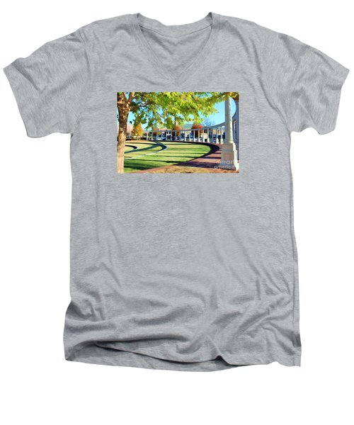 Men's V-Neck T-Shirt featuring the photograph Newnan Park Ampitheatre by Roberta Byram