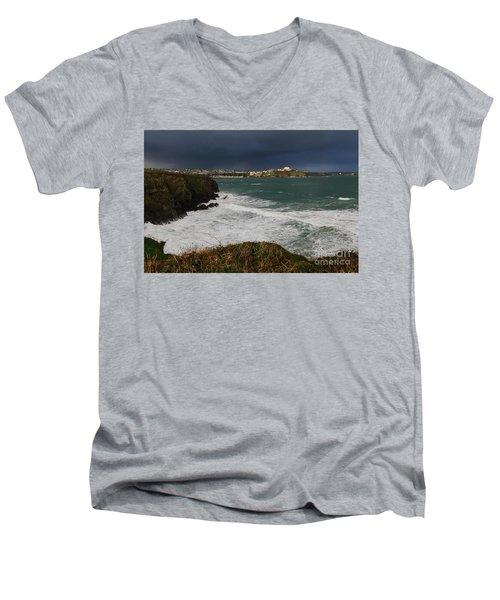 Men's V-Neck T-Shirt featuring the photograph Newquay Squalls On Horizon by Nicholas Burningham