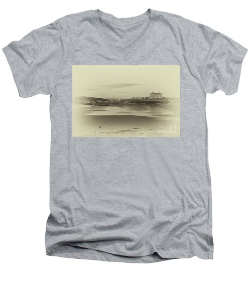 Men's V-Neck T-Shirt featuring the photograph Newquay With Old Watercolor Effect  by Nicholas Burningham