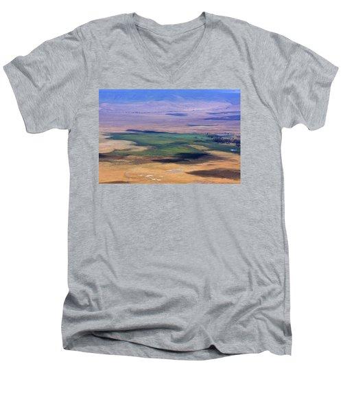 Ngorongoro Crater Tanzania Men's V-Neck T-Shirt by Aidan Moran