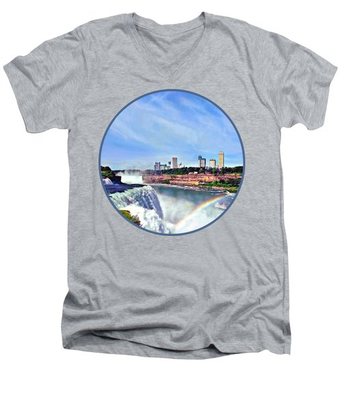 Niagara Falls Ny - Under The Rainbow Men's V-Neck T-Shirt