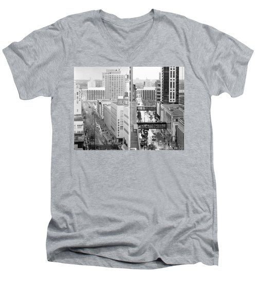 Nicollet Mall From Dayton's 12th Floor Men's V-Neck T-Shirt