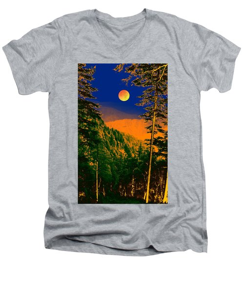 Men's V-Neck T-Shirt featuring the digital art Night Art by Bliss Of Art