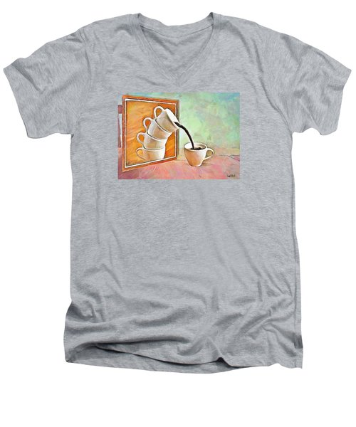 Men's V-Neck T-Shirt featuring the painting Night At The Art Gallery - Instant Coffee by Wayne Pascall