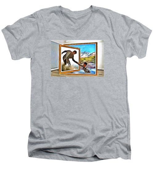 Men's V-Neck T-Shirt featuring the painting Night At The Art Gallery - One To Another by Wayne Pascall