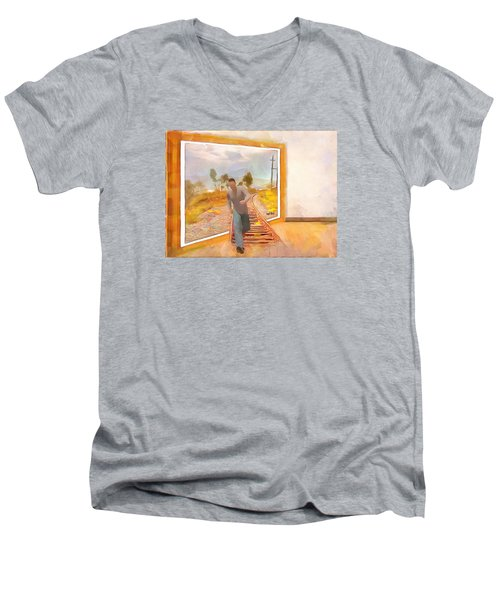 Men's V-Neck T-Shirt featuring the painting Night At The Art Gallery - Railway To Freedom by Wayne Pascall