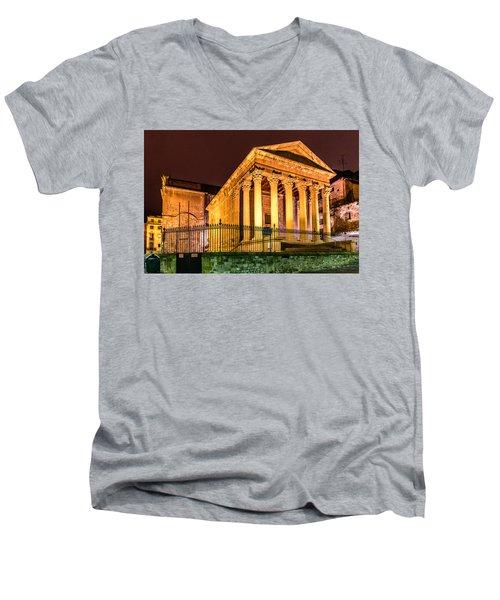 Night At The Roman Temple Men's V-Neck T-Shirt by Randy Scherkenbach