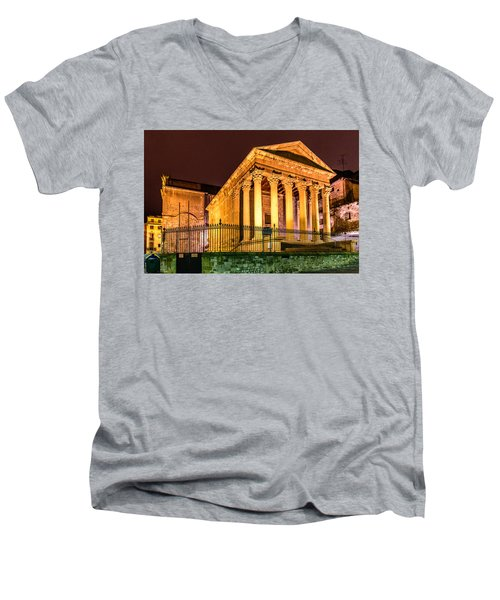 Night At The Roman Temple Men's V-Neck T-Shirt