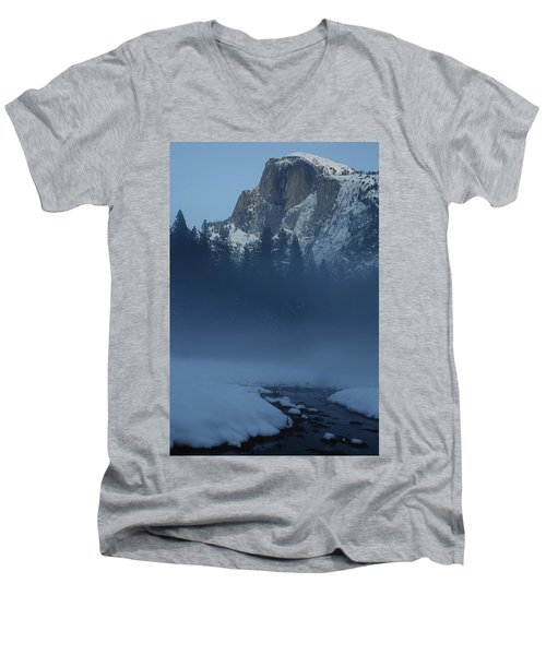 Men's V-Neck T-Shirt featuring the photograph Night Falls Upon Half Dome At Yosemite National Park by Jetson Nguyen